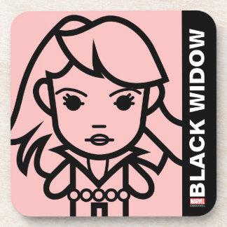 Black Widow Stylized Line Art Coaster
