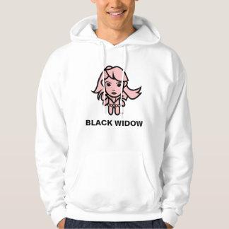 Black Widow Stylized Line Art Hoodie