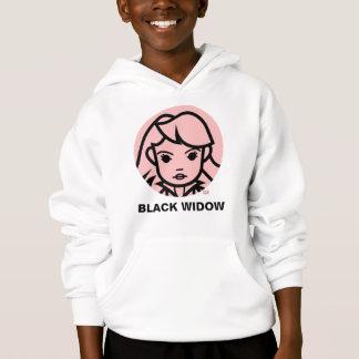 Black Widow Stylized Line Art Icon Hoodie
