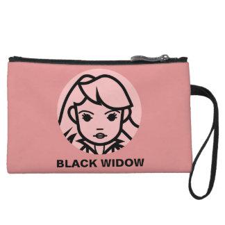Black Widow Stylized Line Art Icon Wristlet
