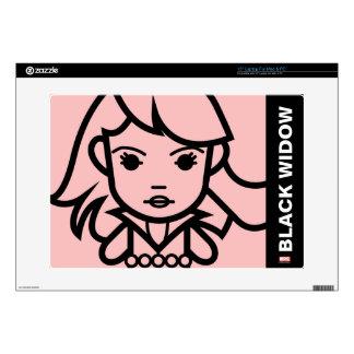 Black Widow Stylized Line Art Skin For Laptop