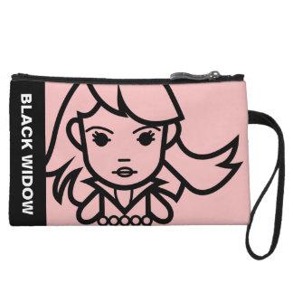 Black Widow Stylized Line Art Wristlet Wallet