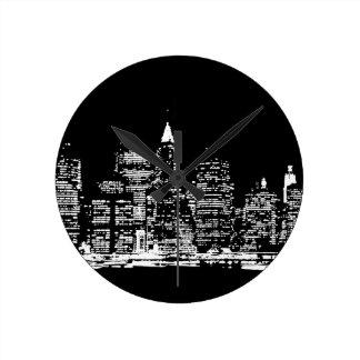 Black & Wihte New York City Night Round Clock