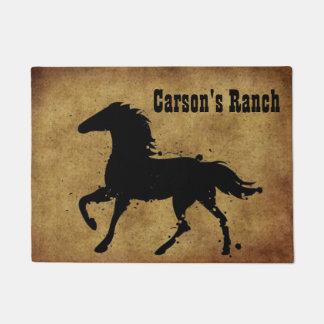 Black, Wild Horse Silhouette, Custom Doormat