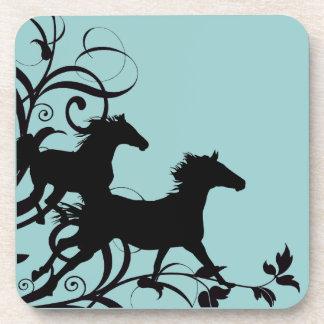 Black Wild Horses Beverage Coaster