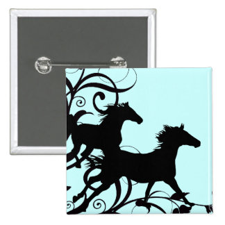 Black Wild Horses Buttons