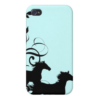 Black Wild Horses Cover For iPhone 4