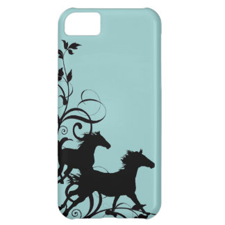 Black Wild Horses Cover For iPhone 5C