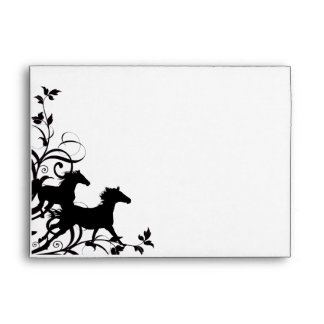 Black Wild Horses Envelopes