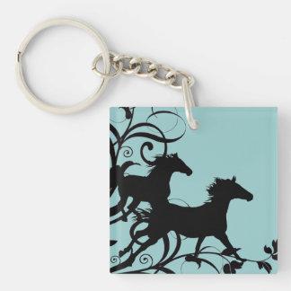Black Wild Horses Double-Sided Square Acrylic Keychain