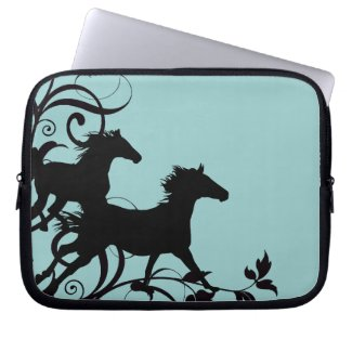 Black Wild Horses Laptop Sleeve
