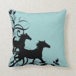 Black Wild Horses Pillow