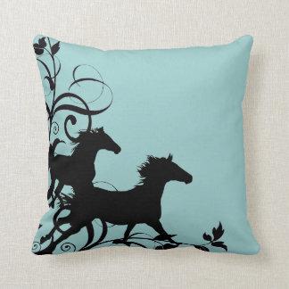 Black Wild Horses Pillows