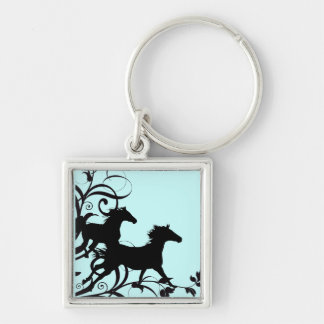 Black Wild Horses Silver-Colored Square Keychain