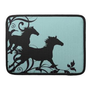 Black Wild Horses Sleeve For MacBooks