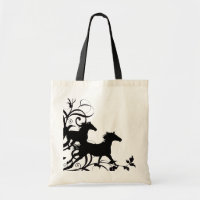 Black Wild Horses Canvas  tote bags