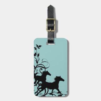 Black Wild Horses Travel Bag Tags