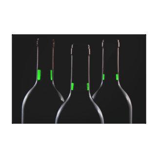 Black Wine Bottles Wrapped Canvas Prints