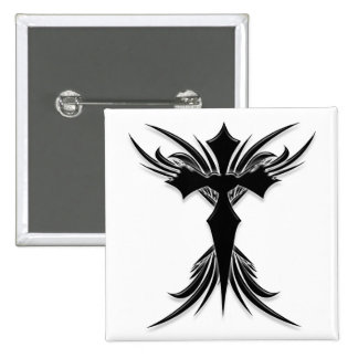 Black Winged Cross Button