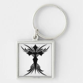 Black Winged Cross Key Chain