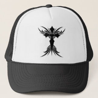 Black Winged Cross Trucker Hat