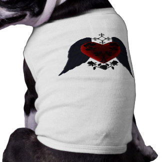Black Winged Goth Heart Dog Shirt