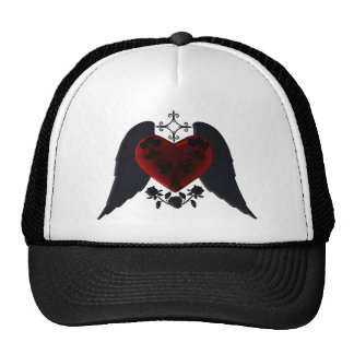 Black Winged Goth Heart Hat