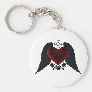 Black Winged Goth Heart Key Chain