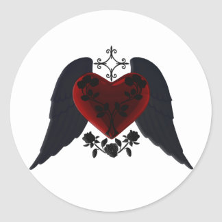 Black Winged Goth Heart Stickers
