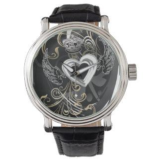 Black Winged Heart Crown  Watch