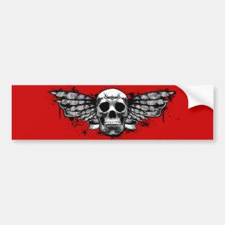 Black winged skull bumper sticker