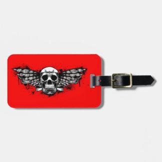 Black winged skull luggage tags