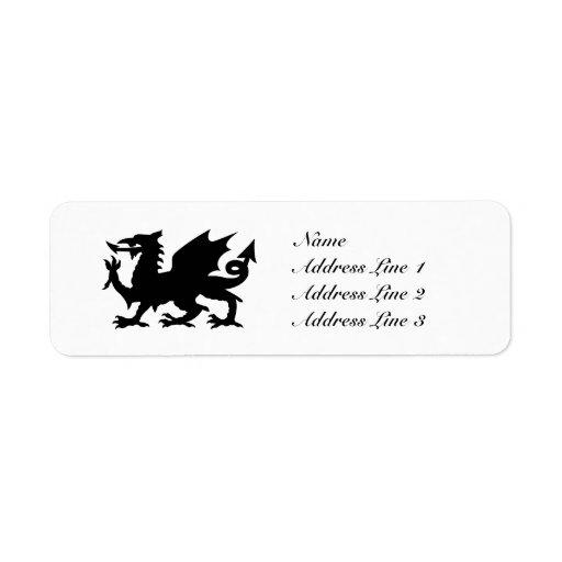 Black Winged Wales Dragon Address Label or Tag