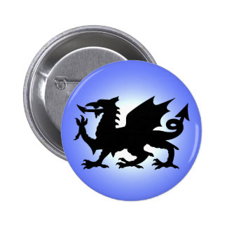 Black Winged Wales Dragon Against Blue Sky Sun Button