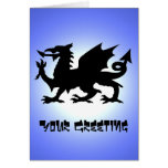 Black Winged Wales Dragon Against Blue Sky Sun Greeting Card