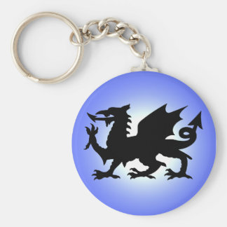 Black Winged Wales Dragon Against Blue Sky Sun Keychain