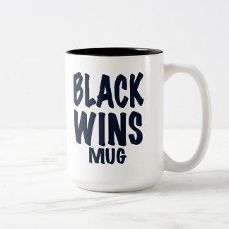 """BLACK WINS MUG"". Obama wins, gift Two-Tone Coffee Mug"