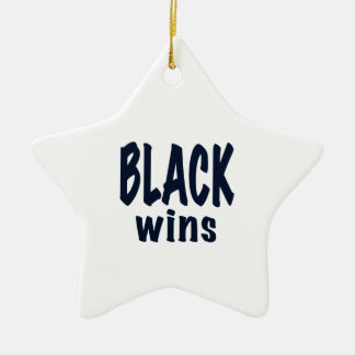 Black Wins, Obama wins Ceramic Ornament
