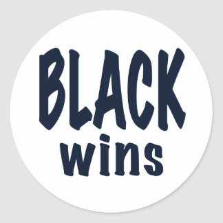 Black Wins, Obama wins Classic Round Sticker