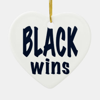 Black Wins, Obama wins Double-Sided Heart Ceramic Christmas Ornament