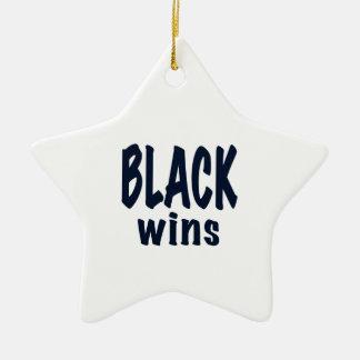Black Wins, Obama wins Double-Sided Star Ceramic Christmas Ornament