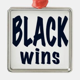 Black Wins, Obama wins Square Metal Christmas Ornament