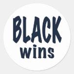 Black Wins, Obama wins Round Stickers
