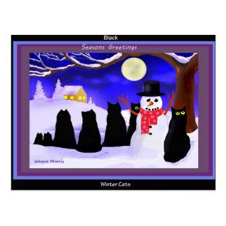 Black Winter cats christmas postcard