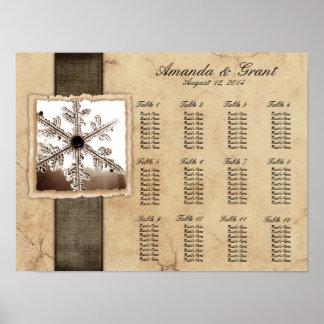 Black Winter Snowflake Wedding Seating Chart