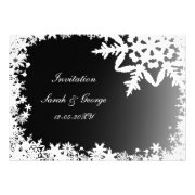 Black and white snowflakes winter wedding invites by mgdezigns