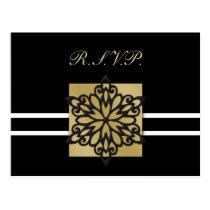 black winter Wedding rsvp card