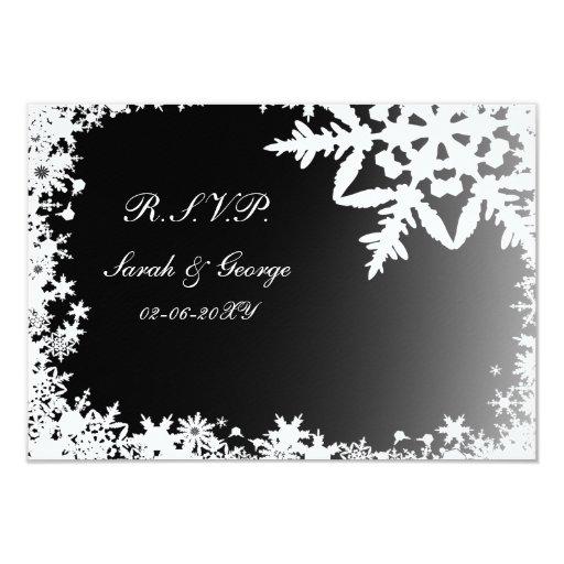 black winter wedding rsvp standard 3.5 x 5 3.5x5 paper invitation card