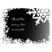 black winter wedding Thank You Postcard