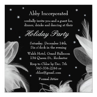 Black Winter White Feathers Holiday Invitation